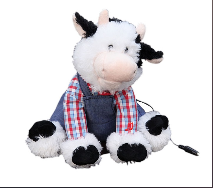 Small image of the toy cow in overalls.