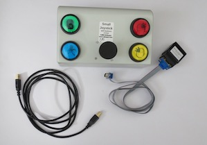 Joystick device with buttons and cables.